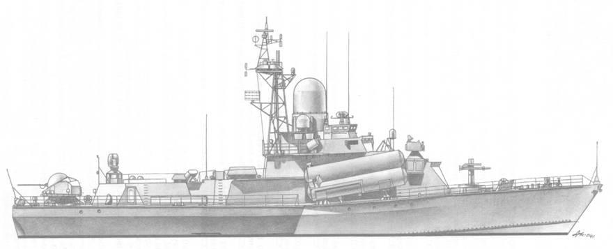 Малый ракетный корабль Зарница (пр. 1234) в период испытаний отдельных систем перспективного комплекса РЭБ