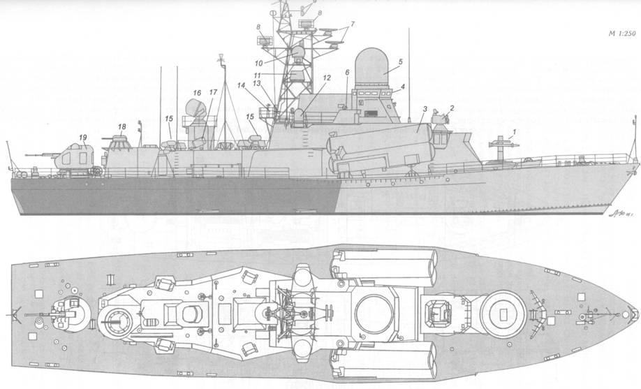 Схема внешнего вида малого ракетного корабля пр. 12341