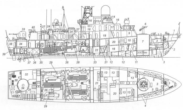 Схема общего расположения малого ракетного корабля пр. 12341