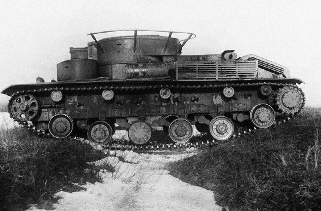 Испытания торсионной подвески на танке Т-28 №1552. Февраль 1939 года.