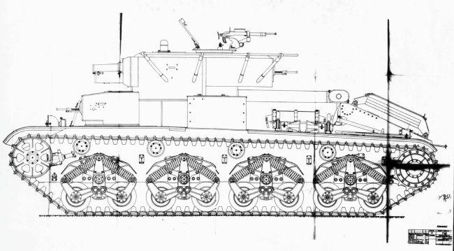 Проект установки <a href='https://arsenal-info.ru/b/book/1344116410/21' target='_self'>подвески танка</a> Т-35 на Т-28, разработанный в СКБ-2. 1938 год (копия рабочего чертежа).