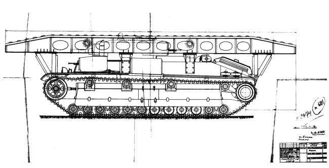 10-метровый металлический мост на танке Т-28, разработанный на Кировском заводе. Январь 1940 года (копия рабочего чертежа).