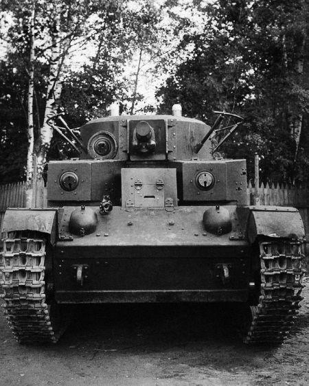 Испытание 76,2-мм танковой пушки ПС-3 №59 в Т-28 с заводским № К-010 на Научно-испытательном артиллерийском полигоне. Август 1936 года, вид спереди.
