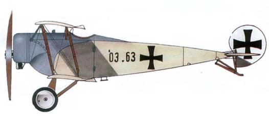 Австрийский учебный самолет «Фоккер В. II» №03.63 из учебной части Flek 6, Винер-Нойштадт, 1916 год.