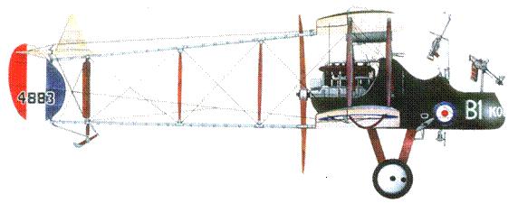 Английский истребитель FE.2b №4883, 20-я эскадрилья. 1916 год.