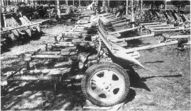 37-мм противотанковые пушки Pak 36 (р) польского производства в немецком артиллерийском парке во время капитуляции группы армий «Курляндия». Май 1945 года. На фото видно не менее 14 таких орудий (АСКМ).