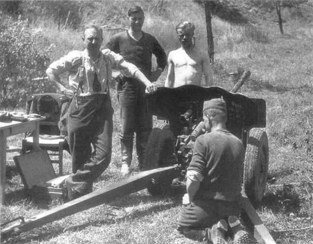 Немецкий расчет у 25-мм противотанковой пушки Гочкиса образца 1934 года SA-L mle 34. Франция, июнь 1940 года. Небольшое количество таких трофейных орудий использовалось в частях вермахта еще во французской кампании 1940 года (АСКМ).