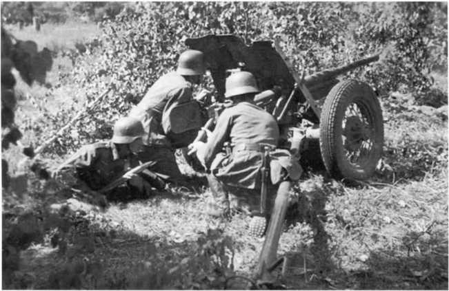 Немецкий расчет ведет огонь из 45-мм противотанковой пушки Pak 184 (r). Советско-германский фронт, 1942 год (АСКМ).