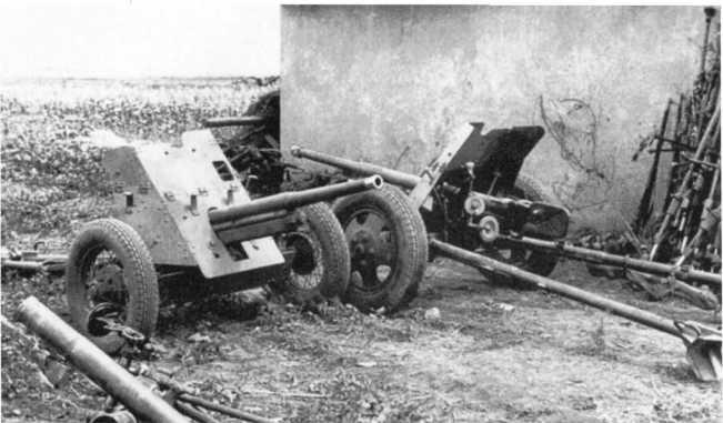 Трофейные советские 45-мм противотанковые пушки образца 1934 и 1937 годов (слева и справа соответственно). Лето 1943 года. В вермахте эти орудия использовались под обозначением Pak 184 (r) (АСКМ).