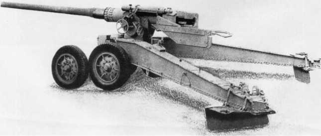 128-мм орудие К 81/1 фирмы Крупп — ствол Pak 80, установленный на лафет трофейной французской 155-мм пушки Canon de 155-mm Grand Puissance Filloux (ACKM).