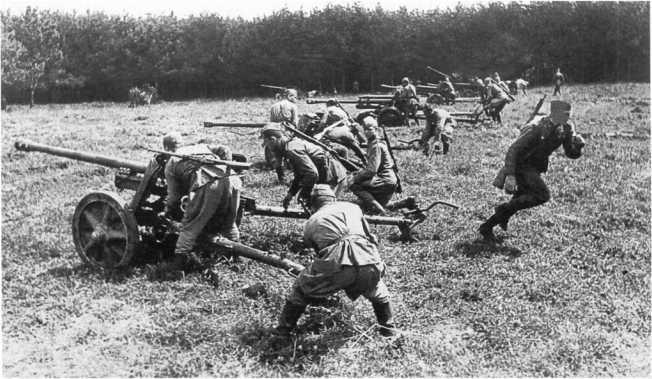 Батарея противотанковых орудий лейтенанта С. Баранова на <a href='https://arsenal-info.ru/b/book/2633435995/35' target='_self'>огневой позиции</a>. Действующая армия, лето 1943 года. На переднем плане — две трофейные немецкие противотанковые пушки Pak 38.