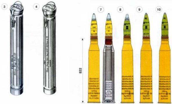 1 — деревянный ящик для 3 выстрелов к 75-мм противотанковой пушке Pak 97/38; 2 — деревянный ящик для 3 выстрелов к 75-мм противотанковой пушке Pak 40; 3 — металлический футляр для одного выстрела к 76,2-мм <a href='https://arsenal-info.ru/b/book/1671492103/2' target='_self'>противотанковым пушкам</a> Pak 36 (r) и Pak 39 (r); 4 — металлический футляр для одного выстрела к 75-мм противотанковой пушке Pak 40.
