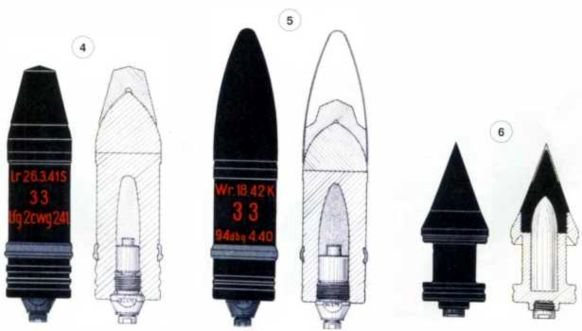 Снаряды для 50-мм противотанковой пушке Pak 38: 1 — осколочная граната SprGr 38; 2 — осколочно-трассирующая граната SprGr41; 3 — бронебойно-трассирующий снаряд PzGr; 4 — бронебойно-трассирующий снаряд PzGr 39; 5 — бронебойно-трассирующий снаряд PzGr 42; 6 — бронебойно-трассирующий подкалиберный снаряд PzGr 40.