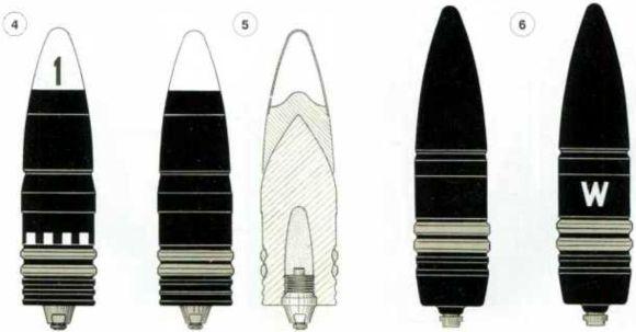 Снаряды для 88-мм противотанковых пушек Pak 43 и Pak 4/41: 1 — кумулятивный снаряд 39 HL; 2 — кумулятивный снаряд 39/43 HL; 3 — осколочная граната SprGr43; 4 — бронебойно-трассирующий снаряд PzGr 39-1; 5 — бронебойно-трассирующий снаряд PzGr 39/43;6 — бронебойно-подкалиберный снаряд PzGr 40/43.