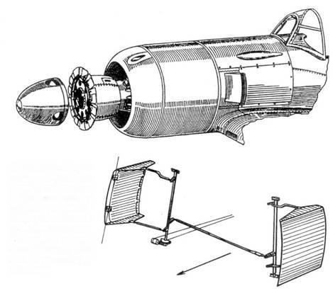 Управляемые створки по бортам фюзеляжа регулировали сечение воздушного канала, по которому проходил воздух, охлаждавший цилиндры двигателя. С помощью створок можно было регулировать температуру двигателя.