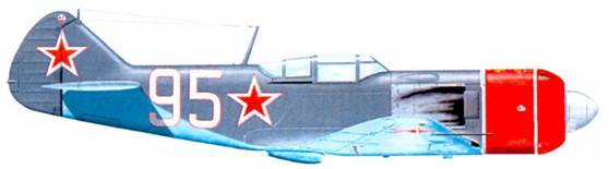 В самом конце Великой Отечественной войны К. А. Евстигнеев из 178-го ГИАП 14-й ГИАД пересел с Ла-5ФН на Ла-7. На рисунке — истребитель Ла-7 одного из самых результативных советских летчиков.