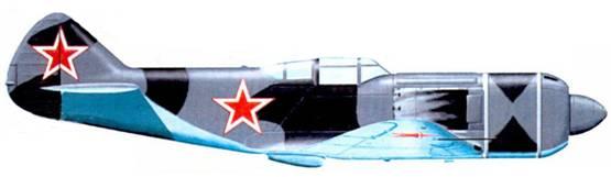Первый прототип истребителя Ла-7 был окрашен по новой камуфляжной схеме; верхние поверхности самолета — пятнами неправильной формы серо-голубого и темно серого цветов, нижние — светло-голубого цвета. На верхние поверхности плоскостей крыли опознавательные знаки не наносились.