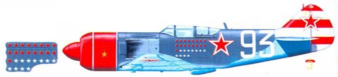 Ла-7 командира 156-го ИАП подполковника С Ф. Долгушина. Яркий полосатый хвост самолета — отличительный признак самолетов 176-го ИАП. Обратите внимание на бортовой номер «93». цифры которого не имеют обычной красной обводки.