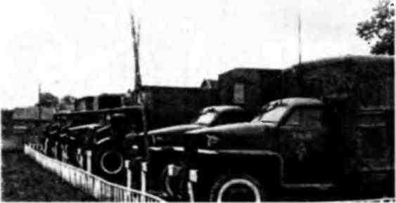 Канадская подвижная ремонтная мастерская, развернутая для обучения личного состава. Германия, 1945 год.