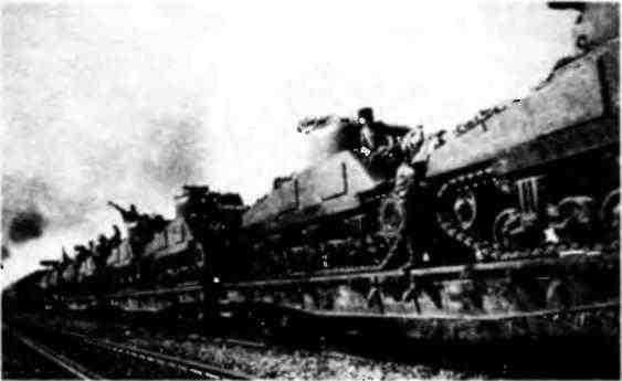 Эшелон с танками М4А2 в Румынии. Сентябрь 1944 года.