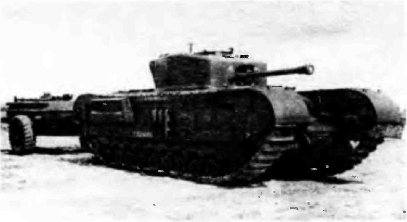 Огнемётный танк «Черчилль-крокодил» с прицепом для огнесмеси на НИИБТ Полигоне в Кубинке. 1946 год.