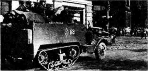 СУ-57 из состава 70-й гвардейской самоходно-артиллерийской бригады на улице Праги. Май 1945 года.