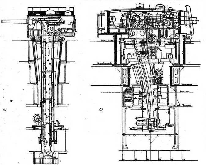 """Артиллерийские башенные установки, устанавливаемые на броненосцах типа """"Бородино"""": а) – для двух 152-мм орудий; в) – для двух 305-мм орудий."""