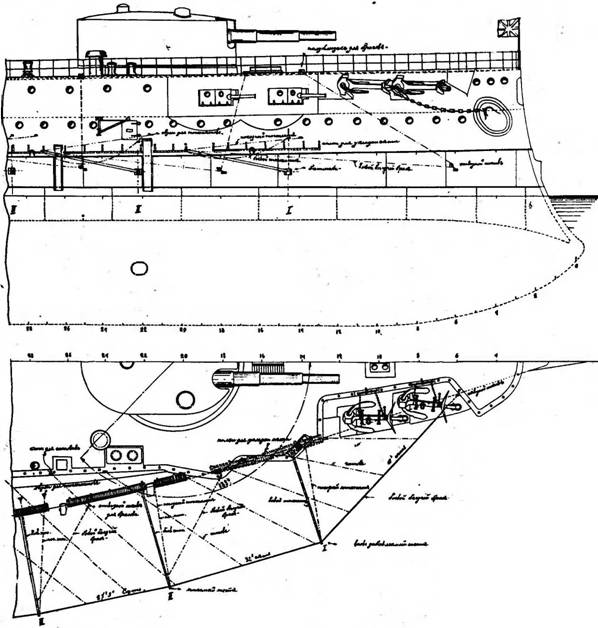 """Расположение противоторпедных сетей и шестов в носовой части броненосцев """"Бородино"""" и """"Орел""""."""