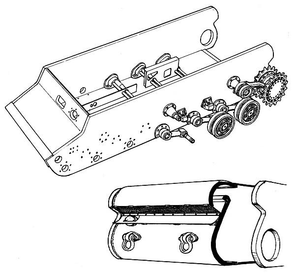 танка КВ (вверху) и схема