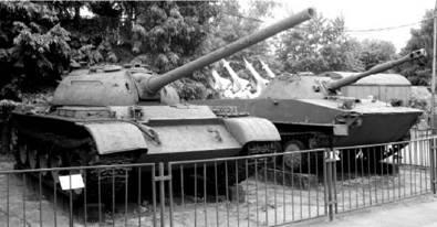 T-54 (пушка калибра 100 мм) (слева) и плавающий танк ПТ-76 (пушка калибра 76 мм). Фото Геннадий Шубин