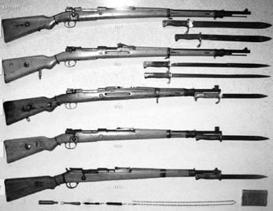 Винтовки Маузер производства кайзеровской и фашистской Германии калибра 7,92 мм (патрон 7,92x57 мм).