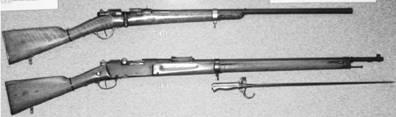 Сверху-вниз: французская винтовка Гра калибра 11 мм образца 1866–1874гг. и французская винтовка Лебель калибра 8 мм образца 1888–1893гг