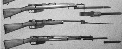 Сверху-вниз: итальянский карабин образца 91/24, итальянские карабины Манлихер-Каркано М91 и Манлихер-Каркано М91/38 (все калибра 6,5 мм)