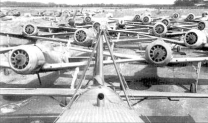 К моменту окончания войны на базе Фленсбург скопились десятки Fw 190А и D, в большинстве своем без пропеллеров. На фото виден и один Bf 109.