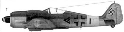 7. Fw 190A-8, «черный двойной шеврон», капитан Герберт Куча (Kutscha), командир III./JG 11, Бранденбург, февраль 1945 года