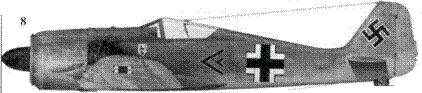 8. Fw 190A-3, «черный двойной шеврон», капитан Генрих Краффт (Krafft), командир I./JG 51, Йессау/Восточная Пруссия, август 1942 года