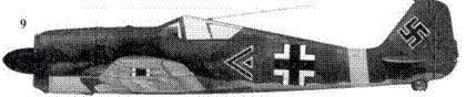 9. Fw 190A-5, «черный двойной шеврон», майор Эрих Ляйе (Leie), командир I./JG 51, Орел, май 1943 года