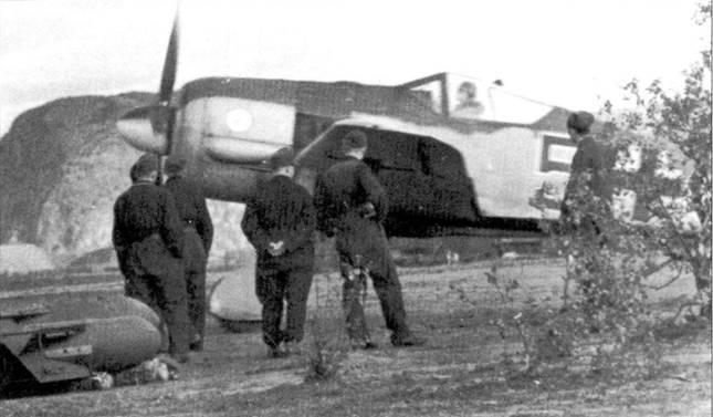 Ранняя весна 1943 года, арктический фронт. Fw I90A-3 «черная 5» из 14.(Jaho)/JG 5, базировавшейся в Петсамо, Финляндия. Эти эскадрилья, возглавляемая капитаном Фридрихом Вильгельмом Штракельяном, держала под ударом прибрежные морские пути. В мае 1943 года фюрер выразил личную благодарность летчикам за активные действия. «Штракс» Штракельян к тому времени заявил девять воздушных побед. Самолет окрашен по ранней схеме и не имеет желтых элементов быстрой идентификации. На капоте двигателя видна уникальная эмблема эскадрильи: лук с бомбой. На земле лежат две бомбы: SG 250 и SG 500.