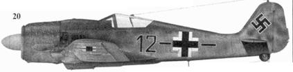 20. Fw 190A-8, «черное двенадцать и полоса», фельдфебель Иоганн Мербелер (Merbeler), Stab./JG 51, Нойкурен, Восточная Пруссия, ноябрь 1944 года
