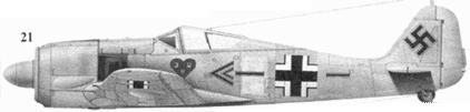 21. Fw 190A-4, «черный двойной шеврон и полоса», подполковник Ханнес Траутлофт, командир JG 54, Красногвардейск, декабрь 1942 года