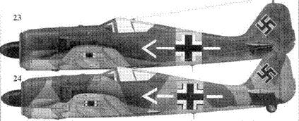 23.Fw 190A-5, «белый шеврон и полоса», майор Губертус фон Бонин (von Bonin), командир JG 54, центральный участок Восточного фронта, ноябрь 1943 года