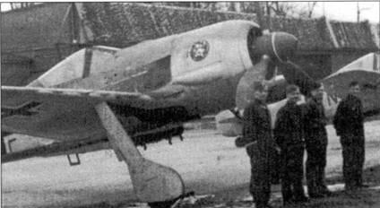 Il./SchlG 1 в марте 1943 года пересела на Fw 190F-2. Перевооружение проходило на базе Демблин-Ирена, на территории современной Польши. У самолета на капоте двигателя изображен Микки-Маус. Красный фон эмблемы указывает на 5-ю эскадрилью группы. Кок винта и литера на фюзеляже также красного цвета. Перед вылетом на фронт цветные детали закрасили черной краской.