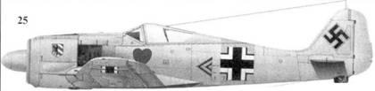 25. Fw 190A-4, «черный двойной шеврон», капитан Ганс Филипп (Philipp), командир I./JG 54, Красногвардейск, январь 1943 года