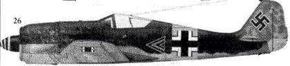 26. Fw 190A-6, «черный двойной шеврон», капитан Вальтер Новотны (Nowotny), командир I./JG 54, Витебск, ноябрь 1943 года