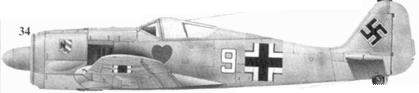 34. Fw 190A-4, «белая девятка», фельдфебель Карл Шнёррер (Schnoerrer), 1./JG 54, Красногвардейск, январь 1943 года