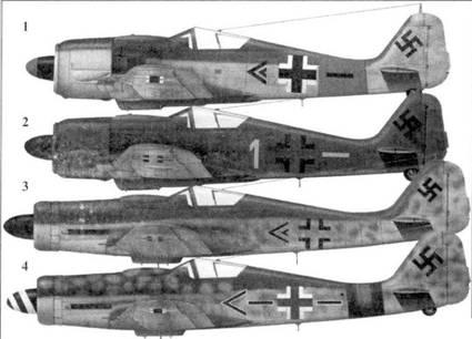 1. Fw 190A-8 «черный двойной шеврон», капитан Пауль Хайнрих Дэне (Daehne), командир II./JG 1, Мекленбург, февраль 1945 года