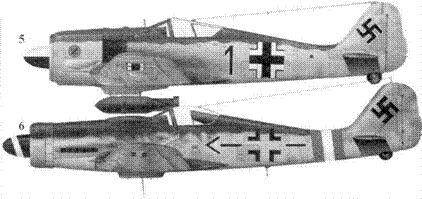 5.Fw 190A-3, «черная единица», капитан Фридрих-Вильгельм Штракельян (Strakeljahn), командир 14. (Jabo)/JG 5, Петсамо, северная Финляндия, июнь 1943 года