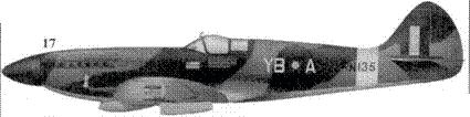 17. «Спитфайр» Mk XIV «RN135/YB-А» командира 17-й эскадрильи скуадрон-лидера Гингира Лэси, Силитэр, Сингапур, осень 1945г.