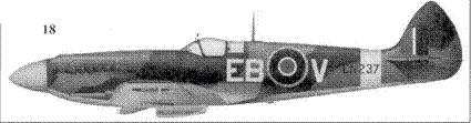 18. «Спитфайр» Mk XII «EN237/EB-V» командира 41-й эскадрильи скуад-рон-лидера Томаса Нейла, Хаукинг, весна 1943г.