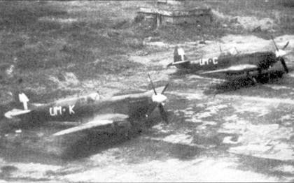 Истребители «Спитфайр» Мк VIII u s 152-й эскадрильи, Тидэу, Бирма, июль 1945г.